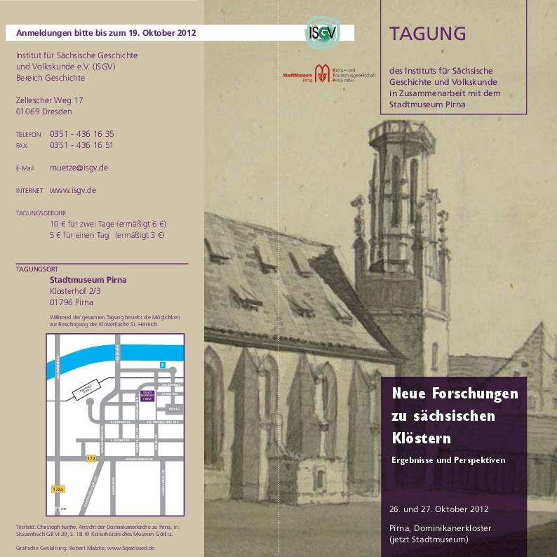 Flyer Klosterforschung Sachsen Tagung 2012