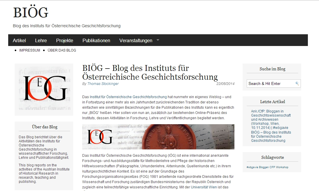 Screenshot: Blog des IÖG
