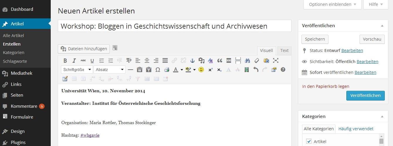 Ank./CfP: Bloggen in Geschichtswissenschaft und Archivwesen (Workshop, Wien, 10.11.2014) | #wbgavie