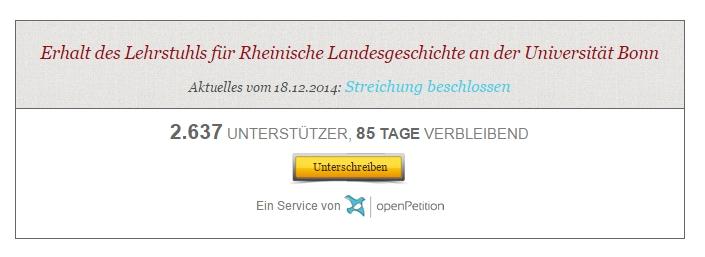Petition Rheinische Landesgeschichte
