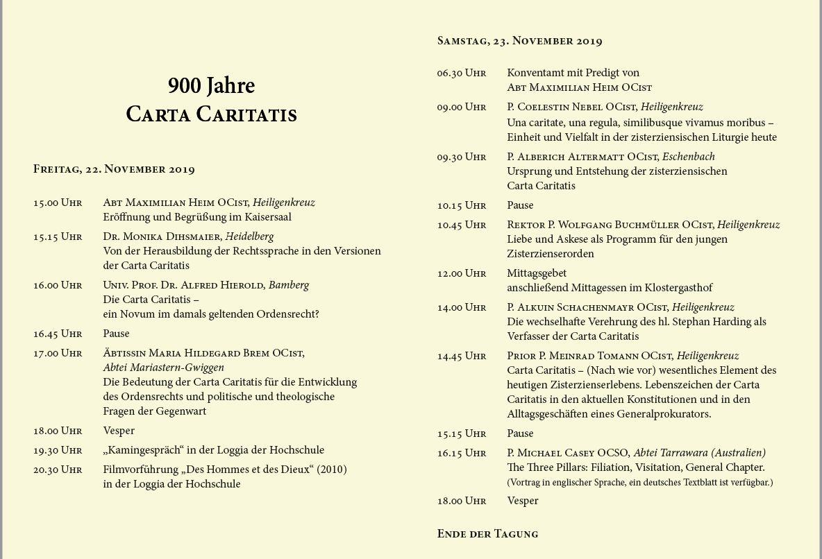 Programm der Tagung 900 Jahre Carta Caritatis